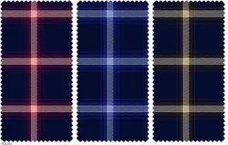 Pure Cotton 30 X 30 Indigo Twill Check Fabric, Check/ Stripes, Multicolour