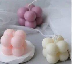 方形粉红色香水泡泡蜡烛,装饰