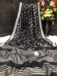 Linen Floral Jaal Weaving Sarees