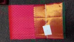 Wedding Wear Plain SAT PURE HANDLOM SILK SAREE, 6.3 m (with blouse piece)