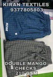 Polyester Double Mango Checks Fabric, Plain/Solids, Multicolour