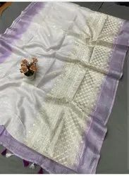 Embroidered Linen Saree