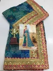 Red Party Wear Chunri Saree, With Blouse Piece, 6.3 Mtr