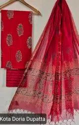 Bagru Hand Block Ajrakh Print Cotton Dress Material With Kota Doria Dupatta