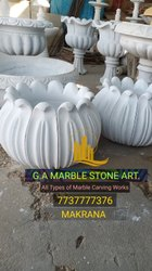 White Marble Flower Pot, For Decoration