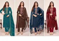 Casual Wear Straight Suit Designer Indian Suits, Handwash