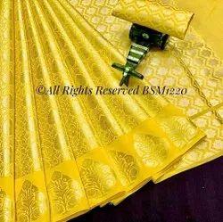 Exclusive Banarasi Soft Zari Tanchui Brocade Sarees, With blouse piece