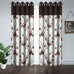 Brown Polyester Readymade Window Curtains, Size: 5 Feet