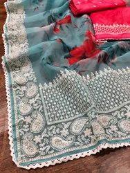 Lucknowi Viscose Thread Work Saree