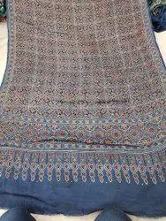Modal Silk Ajrakh Hand Block Print Natural Dyed Dupatta, Multicolour