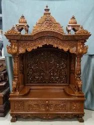 Brown Hand Carved Wooden Mandir, For Worship
