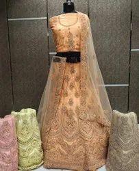 Omkar Net Ladies Dark Peach Embroidered Lehenga Choli