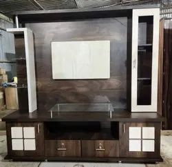 Brown Engineering Wood Wooden Design Tv Unit, For Home, Living Room
