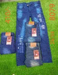 Regular Fit Blue Mens Printed Jeans