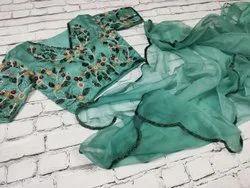 Customisation available Wedding Wear Pure organza handwork sarees, 5.5 m (separate blouse piece)