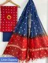 Bagru Hand Block Print Cotton Dress Material With Linen Dupatta