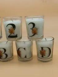 石蜡圆形字母蜡烛,36支,6.3厘米x5.1厘米