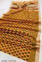 Bagru Print Linen Slub Saree with Blouse Piece