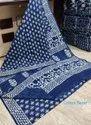 Indigo Dabu Print Cotton Mulmul Saree With Blouse Piece