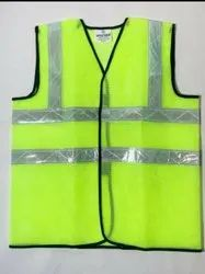 Without Sleeves Plain 60 GSM Polyester Safety Jacket, For Construction