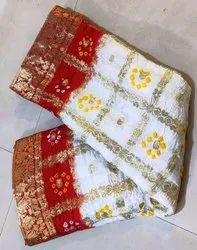 Higglo Party Wear Bandhej Saree Coin Work, 6.3 m (with blouse piece)