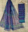 Bagru Hand Block Print Kota Doria Dress Material With Dupatta