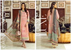 Pakistani Lawn Embroidered Suits, Size: Free