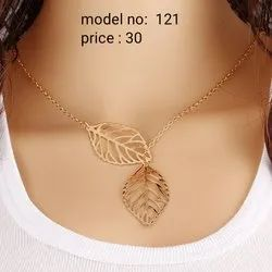 Zinc Alloy Golden,Silver Two Leaf Necklace, Good Packing