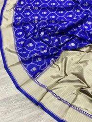 Festive Wear Royal Blue Lichi Silk Weaving Saree, 6 m (With Blouse Piece)