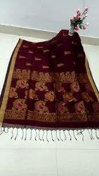 Premium Quality Organic Linen Fabric Hand Weaving Jamdani Saree With Blouse
