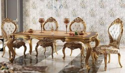 Ganesh PU FINISHED Dining Table Set, For Home, Size/Dimension: Standard