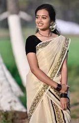 Aargee Wedding Wear Tissue Set Mundu, Box