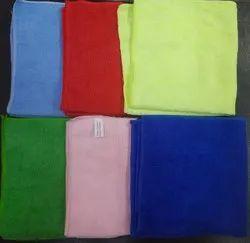 Green, Yellow and Blue Plain Microfiber Towel
