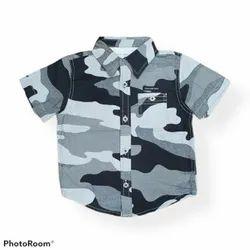 Shirts & T-Shirts Black n white print Boys Shirt, Size: 6months to 6yrs