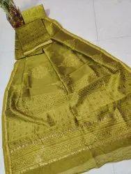 Women Party Wear Printed Chanderi Silk Dress Material with Dupatta