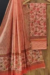 Printed Chanderi Silk Dress Material