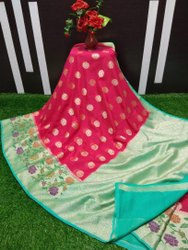 6.3 m (with blouse piece) Banarasi Silk Paithani Saree
