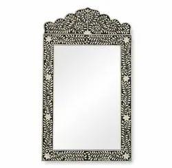 Bone Inlay Mirror, Mirror Shape: Rectangular