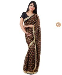 Casual Wear Chiffon Phulkari Sarees, With blouse piece