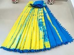 Natural Dyes  Exclusive Hand Block Printed Cotton Mul Mul Pom Pom Lace Saree With Blouse