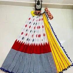 Bagru Print Pom Pom Lace Cotton Mulmul Saree With Blouse Piece