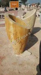 Stone Carved Flower Pot