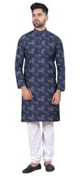 Blue Cotton Men Plain Pathani Kurta, Size/Dimension: 36 to 44