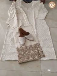 Party Wear Straight Chikankari Suit With Chikankari Jutti, Wash Care: Dry Clean