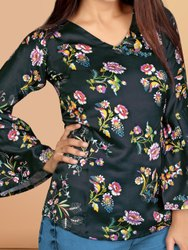 Cottonsatine Formal Wear Printed Women Top, Size: M-L-XL