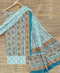 Bagru Hand Block Print Cotton Dress Material with Cotton Dupatta