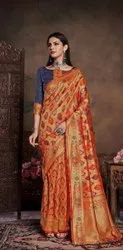 Bynshi Fashion Wedding Wear Weaving Silk Saree, With blouse piece, 5.5 m (separate blouse piece)