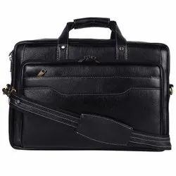 Black Leather Office cum laptop bag, Size/Dimension: W15*H11*B5, Capacity: 20kg