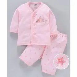 Cotton Pink Baby open suit jabla
