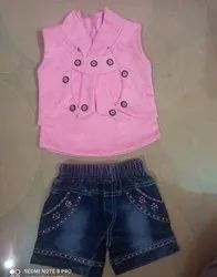 Top-Pink,pant - blue jeans Girl Kids Hot Pant And Top